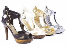FMJ shoes C08 New Women's Cross Lacing Buckles Elegant High Heels and Sandal
