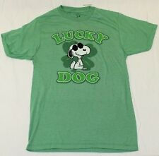 Snoopy Heather Green T shirt Peanuts Comic Lucky Dog New Retro Vintage S-XL