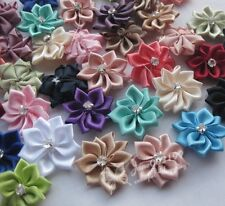 40pcs W/stone satin ribbon flowers sewingappliques craft DIY wedding Lots RB061