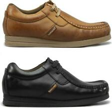 Base London STORM Mens Leather Lace-Up Moccasin Casual Pub Shoes Tan/Brown/Black