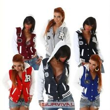 New Womens Hoodie Sports Jacket Sexy Hot College Top Grey Red Blue Size S M L