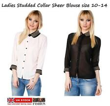 LADIES SHEER BLOUSE STUDDED CONTRAST COLLAR SHIRT TUNIC TOP OFFICE CASUAL FORMAL