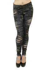 Long Leggings - Knit Denim Ripped/Slashed Look