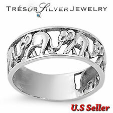 .925 sterling silver elephant lucky band ring size 5 6 7 8 9 10 11