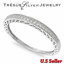 sterling silver micro paved wedding anniversary band ring size 4 5 6 7 8 9 10