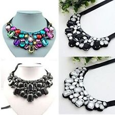 New Arrive Crystal Black Ribbon Chain Bib Collar Necklace Jewelry  A1305