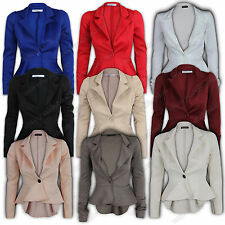 Blazer Womens Jacket Peplum One Button Coat Cropped Tail Back Slim Fit