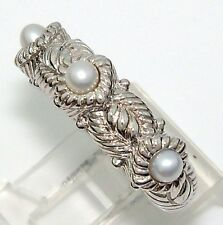 Judith Ripka Sterling Silver Triple Three 3 Pearl Cable Stack Band Ring