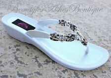 Grandco Beaded Dressy Glamour Flip Flop Cheetah Resort Beach Pool 25223E Sandals