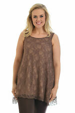 New Womens Sexy Lace Lined Sleeveless Tunic Top T-Shirt Nouvelle Plus Size