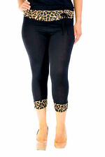 New Womens Cropped 3/4 Animal Print Leggings Trousers Black Nouvelle Plus Size