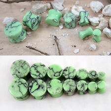 Pair Organic Green Turquoise Stone Ear Plugs Gauges Natural Polished Flared