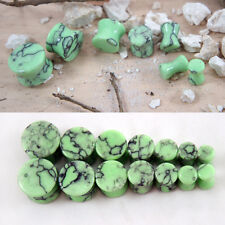 """Pair Organic Green Turquoise Stone Ear Plugs Gauges Natural Polished 4G - 1 3/8"""""""
