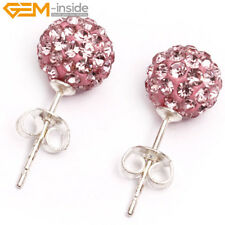 Czech Crystal Rhinestones Pave Clay Round Disco Ball Silver Plated Stud Earrings