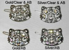 GOLDTONE OR SILVERTONE METAL KITTY CLIP AB & CLEAR CRYSTALS SELECT STYLE