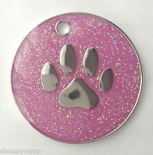 Personalised DOG CAT PAW PRINT Pink Glitter Identity ID Tag Engraved