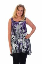 New Womens Flower Flared Sleeveless Sequin Tunic Top Nouvelle Ladies Plus Size