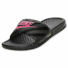 Women's Nike Benassi JDI Swoosh Slide Sandals Black/Pink  NWT   SALE