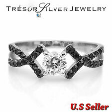 womens .925 sterling silver black & clear cz engagement ring size 5 6 7 8 9 10