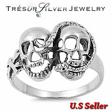 .925 sterling silver double skull head snake ring size 7 8 9 10 11 12 men women