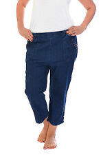 New Womens Cornelli Button Cropped Elastic Waist Denim Jeans Nouvelle Plus Size