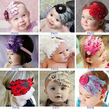 Cute Infant Baby Toddler Girl Feather Hairband Flower Diamond Headband Soft wear