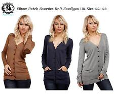 LADIES PLUS SIZE10-18 ELBOW PATCH OVERSIZE BOYFRIEND CARDIGAN SWEATER TOP JUMPER