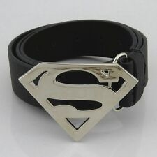 New  Western Superman Silver Classic Mens Metal Belt Buckle Leather