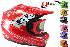 Childrens Kids MOTOCROSS off Road Crash Helmet by Qtech with GOGGLES Sporting