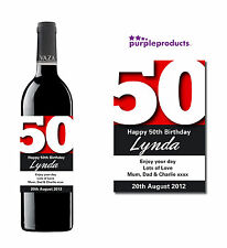 PERSONALISED 50th BIRTHDAY WINE, CHAMPAGNE or BEER/CIDER BOTTLE LABEL