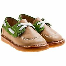 Boys Toddler Childrens Leather Squeaky Shoes - Tan & Green - Wide Fit