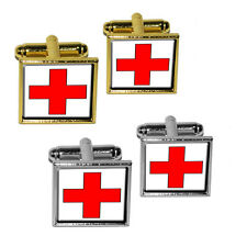 Red Cross Square Cufflink Set