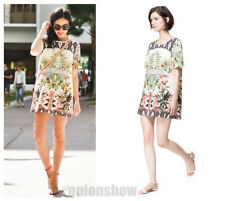 Vintage Geometric Floral Print Short Sleeve Straight one piece Gown Dress S M L