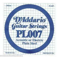 D'Addario Plain Steel Electric/Acoustic Single Guitar Strings 5 Count Packs