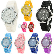 New Womens Jelly Analogue Quartz Wrist Watch Geneva Crystal Silicone Watch Girls