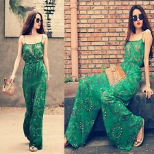 Summer Women BOHO Chiffon Strap Jumpsuit Dress Pants Casual Wide legs Trousers