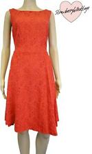 Red floral lace embroidered 50s style lined knee length party / evening dress