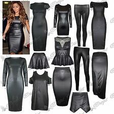 Womens Wetlook Long Sleeve PVC Leather Dress Ladies Bodycon Tunic Top Size 8-14