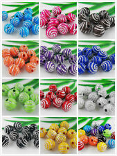 12Color 200pcs Mixed Acrylic Round Curly Round Ball Loose Spacer Beads 8mm