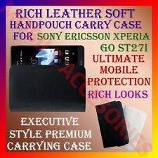 RICH LEATHER SOFT CARRY CASE for SONY ERICSSON XPERIA GO ST27i HANDPOUCH COVER