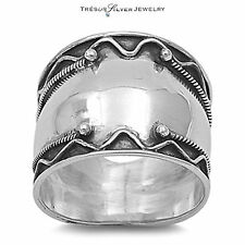 womens wide sterling silver bali style oxidized 17mm band ring size 6 7 8 9 10