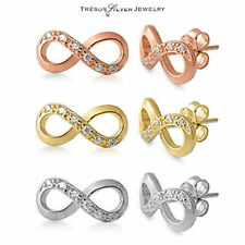 silver 925 infinity cz silver, gold, rose gold eternity stud earrings womens