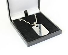 MENS STAINLESS STEEL DOG TAG NECKLACE ENGRAVED/PERSONALISED FREE GIFT BOXED