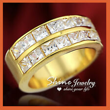 9K GOLD GF R24 SQUARE DIAMOND ENGAGEMENT BRIDAL WOMENS SOLID TWO ROW BAND RING