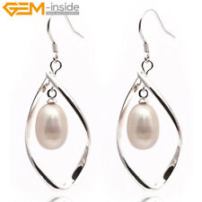 8-9mm Freshwater Pearl Beads White Gold Plated Hook Twist Leaf Dangle Earrings