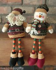 COUNTRY CHRISTMAS - Sitting Santa & Snowman with Wooden Dangly Legs - 45cm