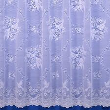 LOVE BIRDS DOVES PREMIUM QUALITY NET CURTAIN IN WHITE - SOLD BY THE METRE