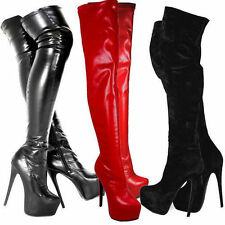 Ladies Over Knee Thigh High Platform Stiletto Heel Stretch Boot Women Shoes Size