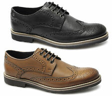 Base London BOWLING Mens Leather Brogue Office Evening Wedding Shoes Black/Tan