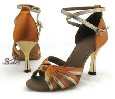 HenryG Women Latin Salsa Ballroom Dance Shoes, Bronze and Golden Heel HGB-23493